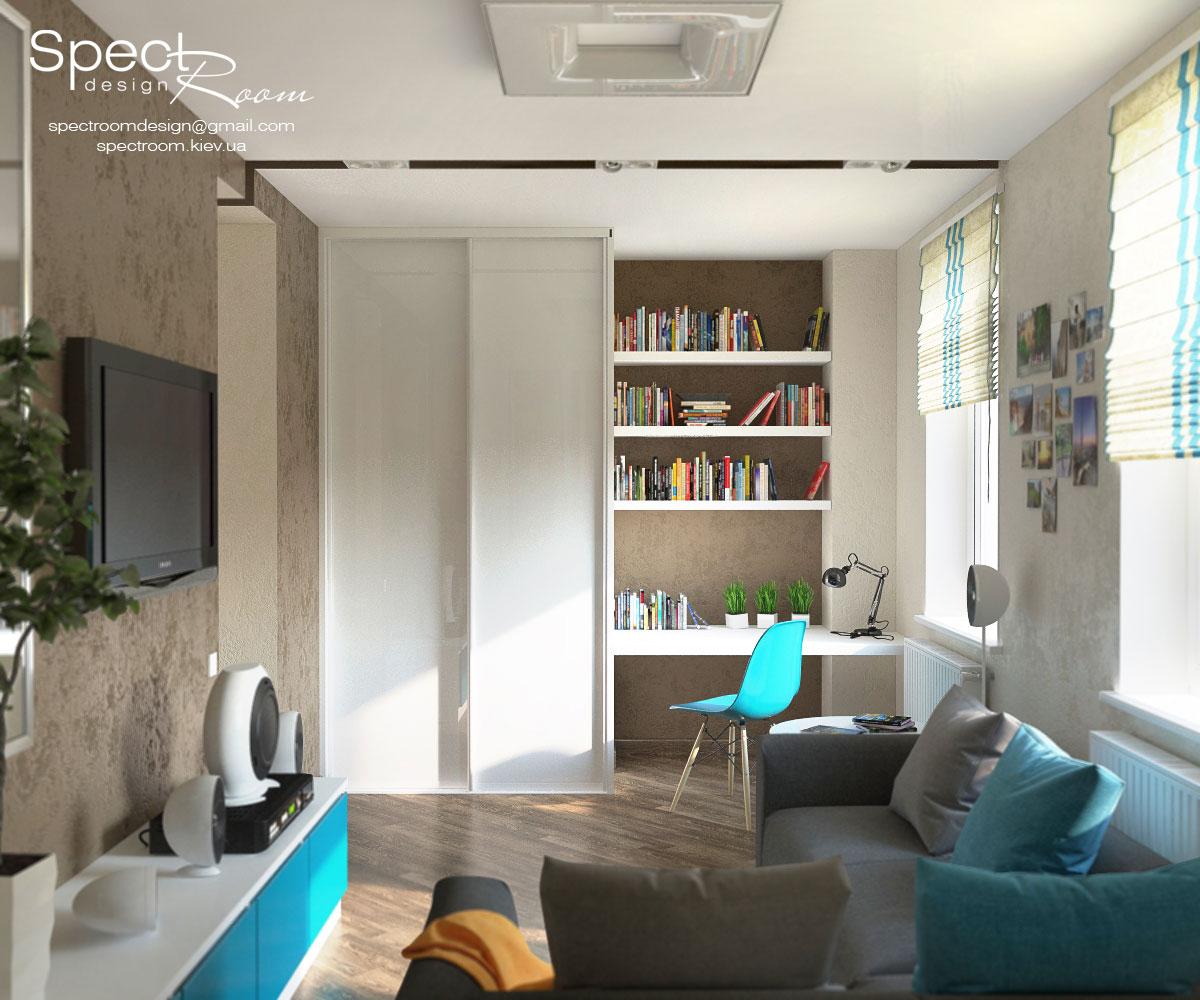 Молодежный интерьер гостиной 120